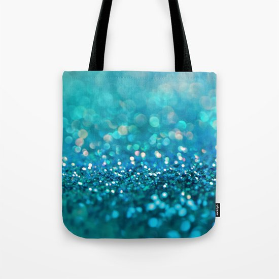 Aqua turquoise blue shiny glitter print effect- Sparkle Luxury Backdrop Tote Bag