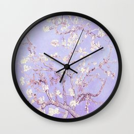Vincent Van Gogh Almond Blossoms  Lavender Wall Clock