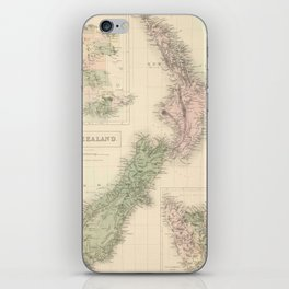 Vintage Map of New Zealand (1854) iPhone Skin