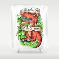 t rex Shower Curtains featuring T-Rex by Little Lost Forest