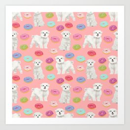 Maltese donuts dog breed funny pet lover dog person pattern print by pet friendly Art Print