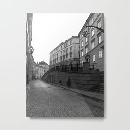 Stockholm Black and White Old Town, SWEDEN Metal Print