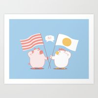 breakfast Art Prints featuring breakfast by gotoup