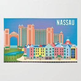 Nassau, Bahamas - Skyline Illustration by Loose Petals Rug