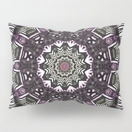 Mandala in black and white with hint of purple and green Pillow Sham
