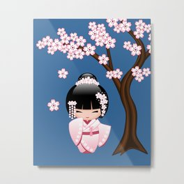 Japanese Bride Kokeshi Doll Metal Print