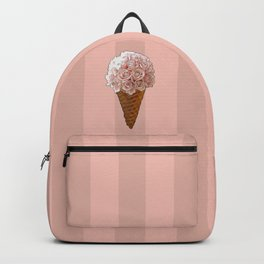 Ice Cream Cone Flower Bouquet - Pink Roses Backpack