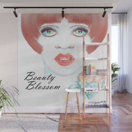 Beauty Blossom Mother's Day Portrait Wall Mural