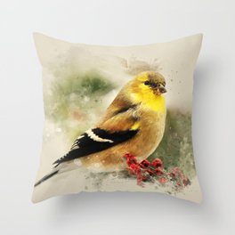 Goldfinch Watercolor Art Throw Pillow