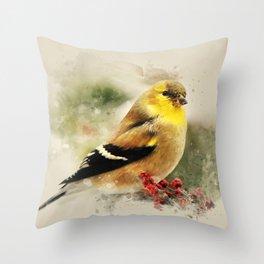 Goldfinch Watercolor Art Throw Pillow