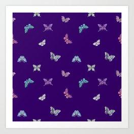 Christmas Butterfly Ornaments on purple Art Print