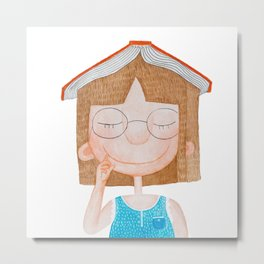 Smiling little cute girl with eyeglasses, and red book on her head. Watercolor illustration. Metal Print