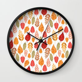 Painted Autumn Leaves Pattern Wall Clock