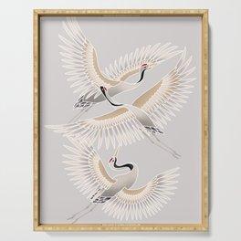 traditional Japanese cranes bright illustration Serving Tray