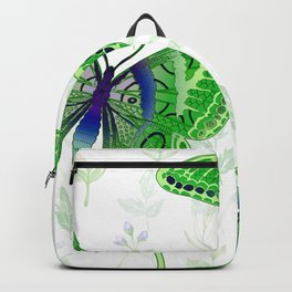 Beautiful Green Butterflies Flowers Garden Backpack