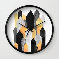 minerals Wall Clocks featuring Black & Yellow Crystals by Elisabeth Fredriksson