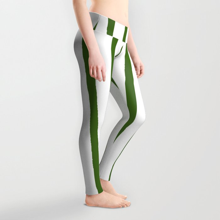 Simply Drawn Vertical Stripes in Jungle Green Leggings