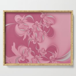 Pink Fractal Flowers Serving Tray