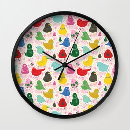 Our birds -  Fabric pattern Wall Clock