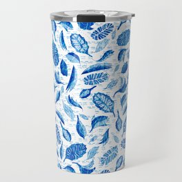 Japanese leaves and buds with stitching blue and white Travel Mug