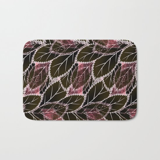 Bright leaves on a black background. Bath Mat