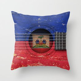 Old Vintage Acoustic Guitar with Haitian Flag Throw Pillow