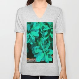 Green Pinecone Roses Unisex V-Neck