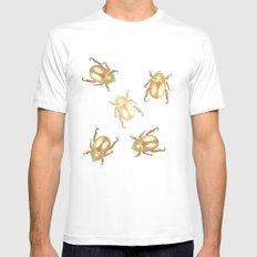 luxury golden scarab pattern White MEDIUM Mens Fitted Tee