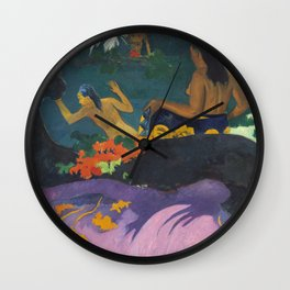 Paul Gauguin Landscape Painting - Fatata te Miti Wall Clock