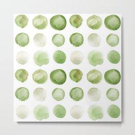Sage Sea Glass Circles Watercolor JUUL Metal Print