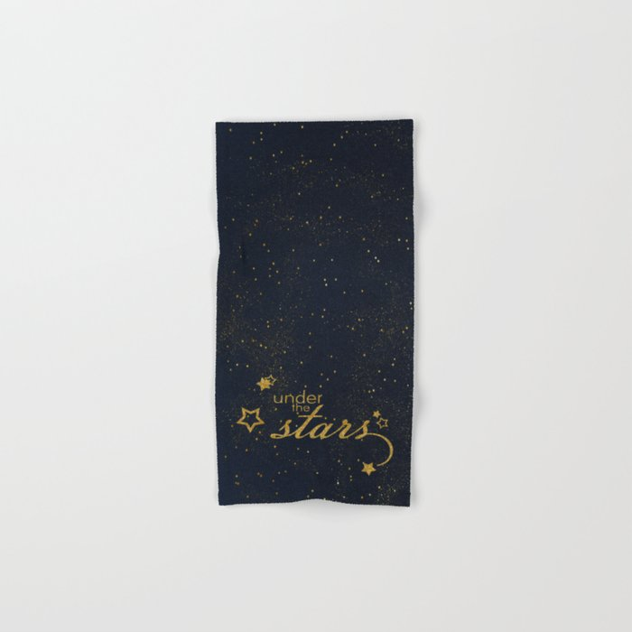 Under the stars- sparkling gold glitter night typography on #Society6 Hand & Bath Towel