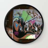 graffiti Wall Clocks featuring graffiti by gasponce