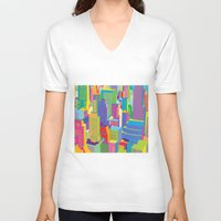 cityscape V-neck T-shirts featuring Cityscape windows by Glen Gould