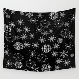 Black and White Snowflakes Wall Tapestry