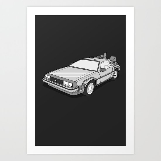 Back to the Future Delorean illustration Art Print