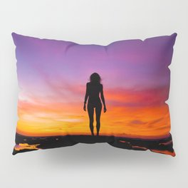 SUNRISE - SUNSET - WOMAN - BLACK - PHOTOGRAPHY Pillow Sham