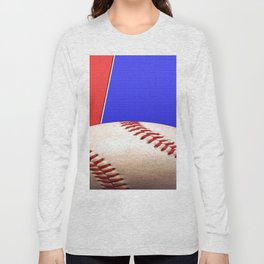Baseball Sports on Blue and Red Long Sleeve T-shirt