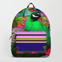 INDIGO PURPLE & PINK ROSES GREEN PEACOCK FLORAL Backpack