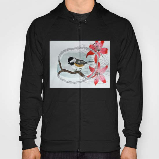 Black capped chickadee and fantasy flowers and lines Hoody