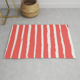 Irregular Hand Painted Stripes Coral Red Rug