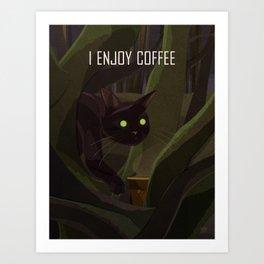 A Cat Enjoys Coffee Art Print