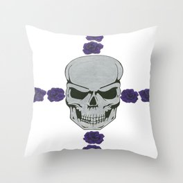 skull with purple rose cross Throw Pillow