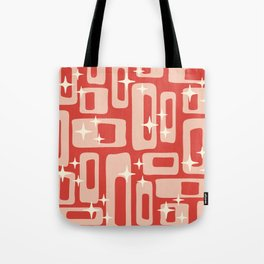 Retro Mid Century Modern Abstract Pattern 129 Red and Beige Tote Bag