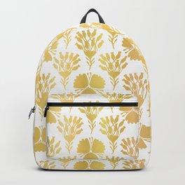 Luxury Gold Foil Flower Damask, Seamless Vector Pattern, Hand Drawn Metallic Backpack
