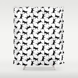 Cats Black on White Shower Curtain