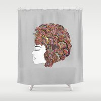 pen Shower Curtains featuring Her Hair - Les Fleur Edition by Bianca Green