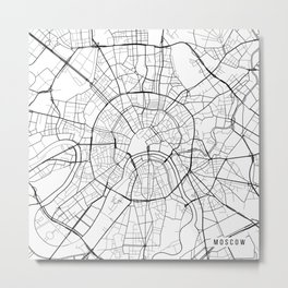 Moscow Map, Russia - Black and White Metal Print