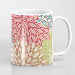 Flower Pattern, Raspberry Red, Lime Green,Teal, Orange Coffee Mug