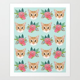 Tabby cat florals flowers must have cat themed gifts pet portrait cat lady mint pastel cat art fur Art Print