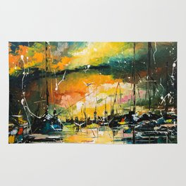 Harbor in sunset Rug